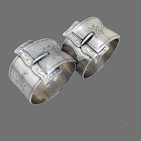 Buckle Design Napkin Rings Pair Coin Silver Boxed Mono Martin Zelle