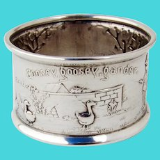 Nursery Rhyme Napkin Ring Arrowsmith Sterling Silver 1960s
