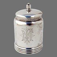 Aesthetic Mustard Pot Gorham Sterling Silver 1880 Mono MF