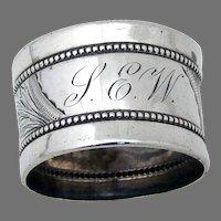 Beaded Engraved Napkin Ring Gorham Sterling Silver Mono SEW