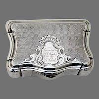 Engine Turned Snuff Box Coin Silver Presentation Mono