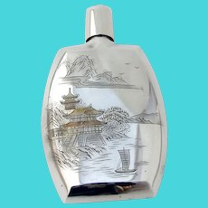 Japanese Silver Flask Engraved Scenic Designs Mono 1948