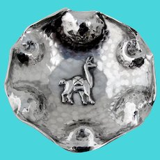 Hammered Round Dish Applied Llama Sterling Silver Peru