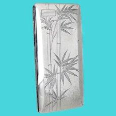 Long Cigarette Case Japanese 950 Sterling Silver Bamboo Design