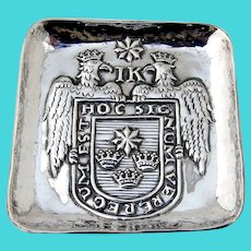 Square Plate Dish Double Eagle Coat Of Arms Sterling Silver