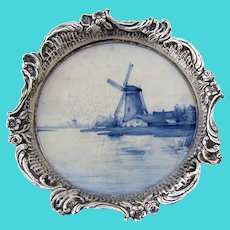 Dutch Coaster Windmill Ceramic Base  833 Silver 1900