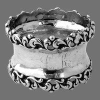 Scroll Border Napkin Ring Sterling Silver Mono LK