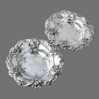 Ornate Serving Bowls Pair Gorham Sterling Silver 1952 Date Mark