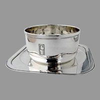 French Art Deco Gravy Bowl Underplate Emile Puiforcat Sterling Silver Mono SR