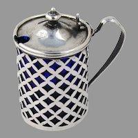 Openwork Mustard Pot Cobalt Glass Liner Sterling Silver