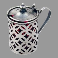 Openwork Mustard Pot Cranberry Red Glass Liner Sterling Silver