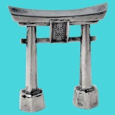 Torii Shinto Gate Form Salt Shaker Japanese Sterling Silver