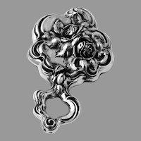 High Relief Rose Design Hand Mirror International Sterling Silver