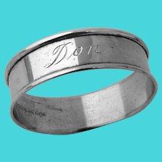Plain Round Napkin Ring Gorham Sterling Silver Mono Don