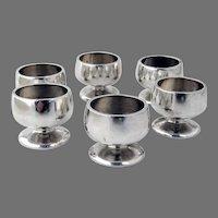 6 Round Open Salt Dishes Set American Coin Silver No Mono