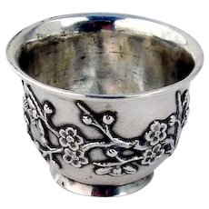 Chinese Export Silver Open Salt Floral Designs Wang Hing