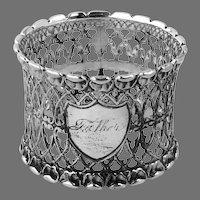 Gothic Openwork Design Napkin Ring Coin Silver Mono Father