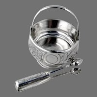 Russian Sugar Basket Tongs Set 84 Standard Silver 1892