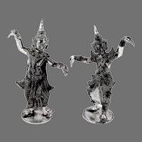 Thai Dancers Figurines Pair Sterling Silver