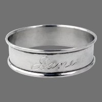 Round Napkin Ring Gorham Sterling Silver Mono Jane