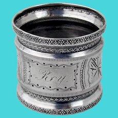 Ornate Napkin Ring Coin Silver Mono Roy