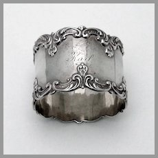 Scroll Border Napkin Ring Gorham Sterling Silver Mono Karl