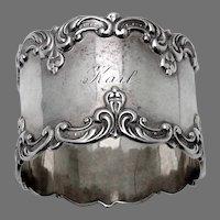 Scroll Border Napkin Ring Gorham Sterling Silver Mono Karl