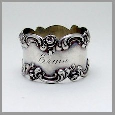 Rose Scroll Napkin Ring Blackinton Sterling Silver 1900 Mono Erma