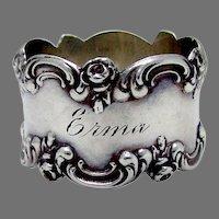 Rose Scroll Napkin Ring Blackinton Sterling Silver 1900 Mono Erma