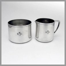 Tiffany Modernist Creamer Sugar Bowl Set Sterling Silver Mono RMG