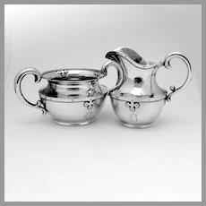 Arts And Crafts Creamer Sugar Bowl Shreve Sterling Silver Mono C