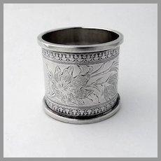Engraved Floral Napkin Ring Coin Silver 1890 Mono Annie