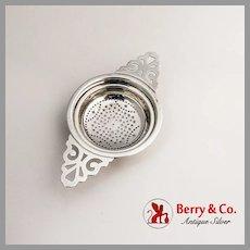 Colonial Revival Tea Strainer Cutwork Handles Watrous Sterling Silver
