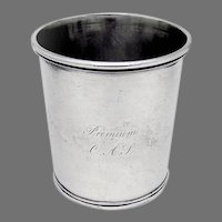 Large Julep Cup John Curry Coin Silver 1835 Mono Premium OAS