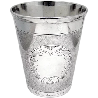 Large Engraved Beaker Bolin Swedish 830 Silver 1947 Monogrammed