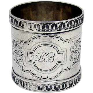 Large Ornate Napkin Ring Coin Silver Mono LB