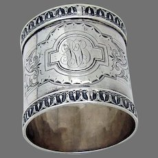 Large Ornate Napkin Ring Coin Silver Mono RB