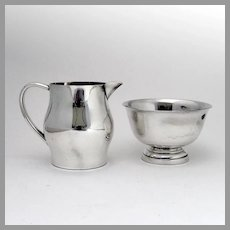 Colonial Style Creamer Sugar Bowl Set Preisner Sterling Silver
