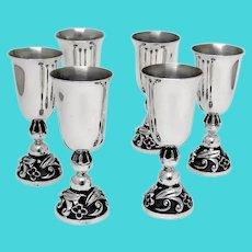 6 Cordial Cups Set Floral Bases La Paglia Sterling Silver No Mono