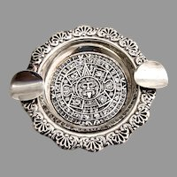 Mayan Calendar Design Ashtray Sterling Silver Mexico