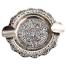 Mayan Calendar Design Ashtray Sterling Silver Mexico