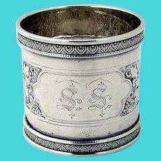 Grapevine Napkin Ring Coin Silver Mono SS