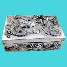 Three Claw Dragon Box Chinese Export Silver Wang Hing