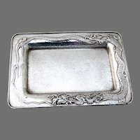 Dragon Design Dresser Tray Hammered Sterling Silver