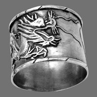 Dragon Napkin Ring Chinese Export Silver Heart Cartouche