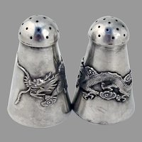 Dragon Salt Pepper Shakers Set Chinese Export Sterling Silver