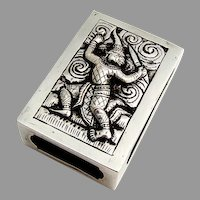Thai Figural Match Box Case Sterling Silver