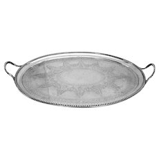 Victorian Engraved Oval Tray Beaded Rim Sterling Silver London 1871