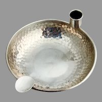 Unusual Candle Holder Ashtray Hammered Sterling Silver