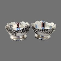 Applied Acorn Border Footed Bowls Pair Sterling Silver